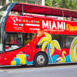 Open deck bus at Miami Beach — Stock Photo