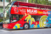 Open deck bus at Miami Beach — Stock Photo