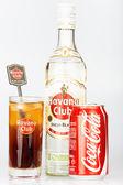 Havana Club rum and coke next to a Cuba Libre — Stock Photo