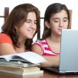 Stock Photo: Hispanic teen and her mother working or browsing web on la