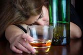 Drunk woman suffering a hangover — Stock Photo