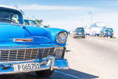 Old Chevrolet parked at the Malecon of Havana — Stock Photo