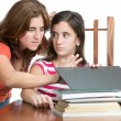Mother checks her daughter internet activity — Stock Photo #39807089