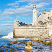 The lighthouse and fortress of El Morro in Havana — Stock Photo