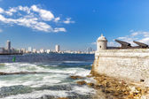 Tower and cannons of the castle of El Morro with the Havana skyl — Stock Photo