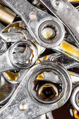 Tools wrenches and ratchets with grease stains — Stock Photo