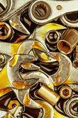 Vintage werkzeuge schraubenschlüssel und nüssen mit fett-flecken — Stockfoto