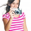 Fun happy young girl taking a photo — Stock Photo #43765323