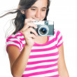 Fun happy young girl taking a photo — Stock Photo