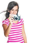 Fun happy young girl taking a photo — Stock Photo