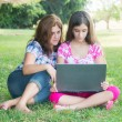 Hispanic girl and her  mother using a laptop outdoors — Stock Photo #43958941