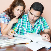 Adult couple studying at home — Stock Photo