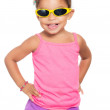 Multiracial small girl wearing yellow sunglasse — Foto de Stock