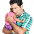 Tired hispanic father carrying his small daughter — Stock Photo #44362923