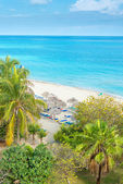 Aerial view of the beautiful beach of Varadero in Cuba — Stock Photo