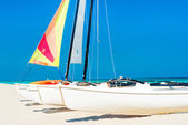 Catamarans with colorful sails on a tropical beach — Stock Photo