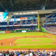 Fans watching a baseball game at the Miami Marlins Stadium — Stock Photo #47331999