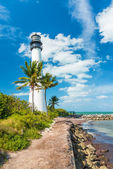 Famous lighthouse at Key Biscayne, Miami — Stock Photo
