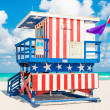 Colorful lifeguard tower in South Beach, Miami — Stock Photo #48263607