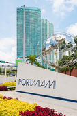 Sign at the entrance of the Port of Miami — Stock Photo