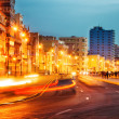 Sunset in Old Havana with the street lights of El Malecon — Stock Photo #49850673