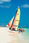 Tourists sailing on a catamaran in Cuba — Stock Photo