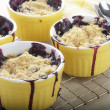 Blueberry crumble in ramekins — Stock Photo
