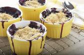 Blueberry crumble in ramekins — Stock Photo