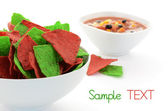 Red and green tortilla chips — Stock Photo