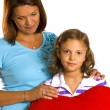 6 years old girl with her mother — Stock Photo