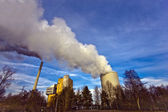 Power plant with huge cooling tower — Stock Photo