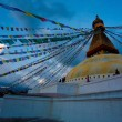 colorful holy flags on boudhanath temple stupa kathmandu nepal — Stock Photo