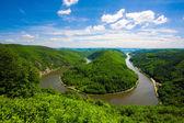 Saarschleifen - The Saar river turning around the hill in Saarland, Germany — Stock Photo