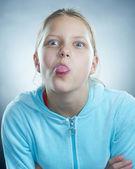 Atrractive girl making faces — Stock Photo