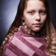 Portrait of a miserable little girl — Stock Photo