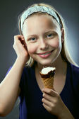 Portrait of a cute teen girl with icecream — Stock Photo