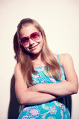 Portrait of a teen girl with sunglasses — Stock Photo