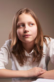 Confused teen schoolgirl — Stock Photo