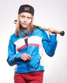 Portrait of a teen girl with bat  — Stock Photo