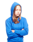 Angry teen girl in poor — Stockfoto