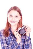 Teen girl with camera — Stock Photo