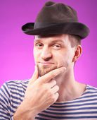 Nerd guy in hat — Stock Photo