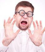 Afraid man in glasses — Stock Photo