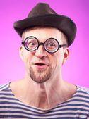 Nerd guy in hat — Stock Photo
