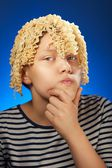 Funny teen girl with macaroni instead hair — Photo