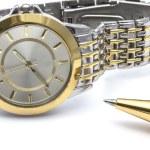 時計とペン — ストック写真
