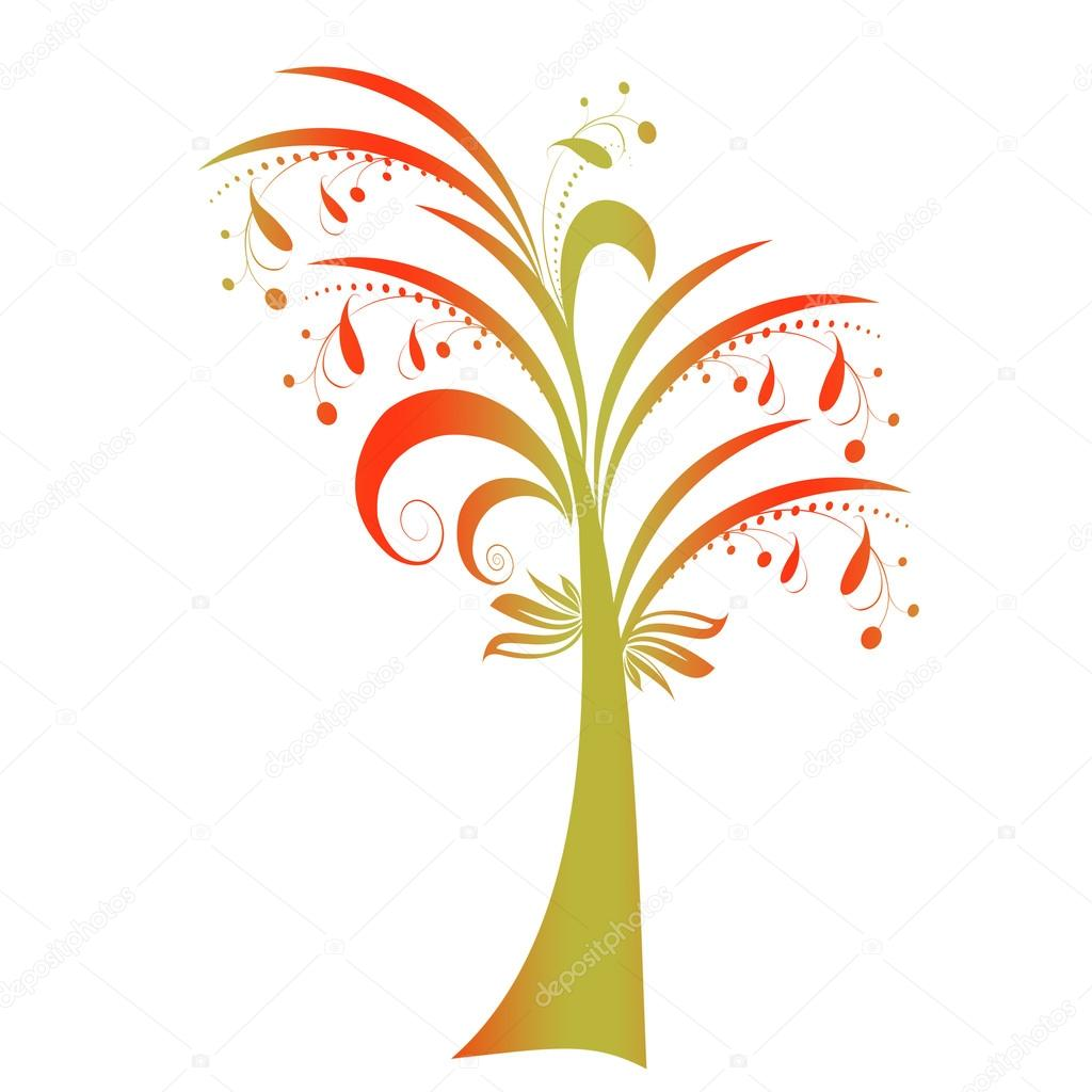 Beautiful autumn tree isolated on white background — Stock Vector #13841518