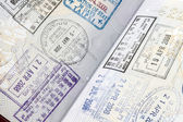 Stamps on passport — 图库照片
