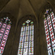 Stained glass window of St. Vitus Cathedral ,Prague — Stock Photo