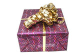 Gift Box with Gold Ribbon Bow — Zdjęcie stockowe